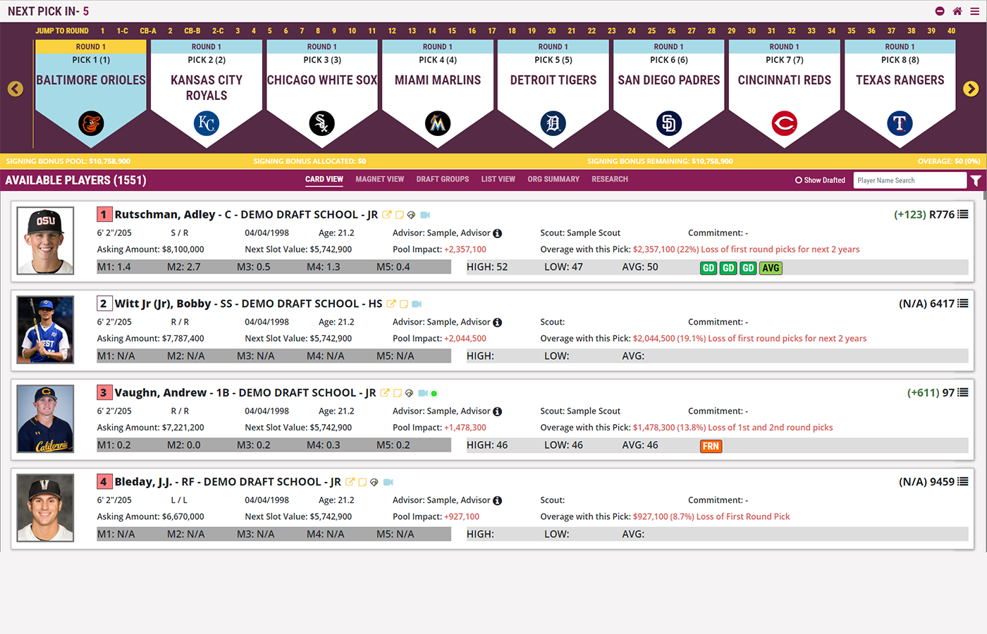 Baseball Draft App